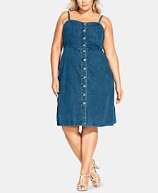 Trendy Plus Size Cotton Denim Button-Front Dress