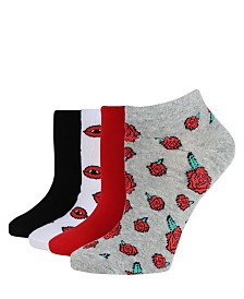 SOCK TALK Ladies' Low Cut Socks 4 PACK ROSES