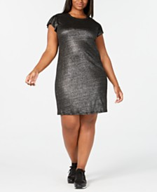 MICHAEL Michael Kors Plus Size Metallic Linen Dress