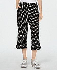 Printed Ruffle-Hem Cropped Pants, Regular & Petite