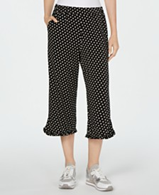 Michael Michael Kors Printed Ruffle-Hem Cropped Pants, Regular & Petite
