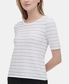 Stitched-Stripe Sweater