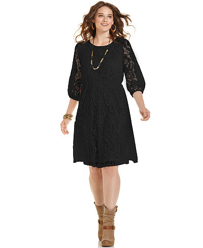 ING Trendy Plus Size Lace A-Line Dress - Dresses - Plus Sizes - Macy\'s