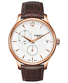 Watch, Men's Swiss Tradition Brown Leather Strap 42mm T0636393603700