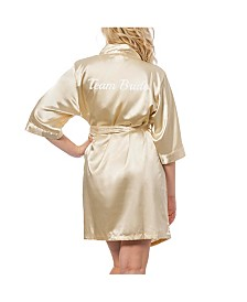 Cathy's Concepts Team Bride Gold Satin Robe