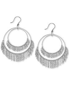 Lucky Brand Silver-Tone Chain Fringe Double-Row Drop Hoop Earrings