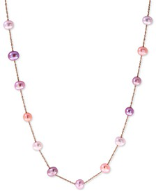 "EFFY® Multicolor Cultured Freshwater Pearl (5-1/2mm) 18"" Collar Necklace in 14k Rose Gold"