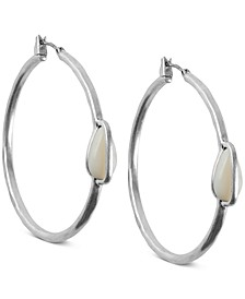 Silver-Tone Imitation Mother-of-Pearl Medium Medium Hoop Earrings