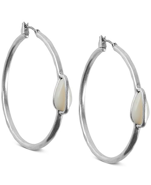 Lucky Brand Silver-Tone Imitation Mother-of-Pearl Medium Hoop Earrings