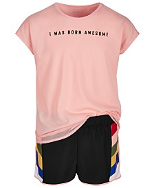 Ideology Big Girls Mesh-Trim T-Shirt & Shorts, Created for Macy's