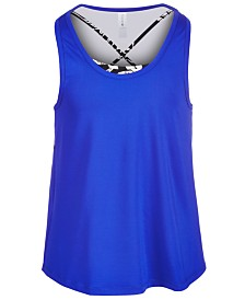 Ideology Big Girls Mesh-Back Layered-Look Tank Top, Created for Macy's