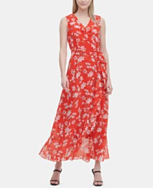Calvin Klein Belted Floral-Print Maxi Dress