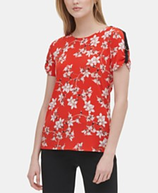 Calvin Klein Floral-Print Shoulder-Trim Top
