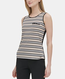 Calvin Klein Striped Studded Top