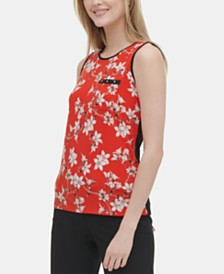 Calvin Klein Floral-Print Studded-Pocket Top