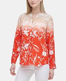 Floral-Print Flap-Pocket Top