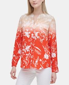 Calvin Klein Floral-Print Flap-Pocket Top