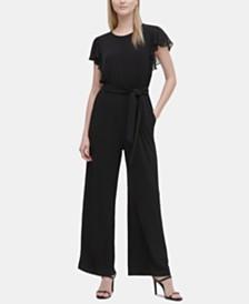 Calvin Klein Flutter-Sleeve Belted Jumpsuit