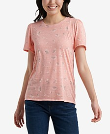 Floral-Scoop Neck T-Shirt