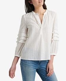 Cotton Ruffle-Sleeve Peasant Top