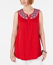 8d8e8ed11d4 Style & Co Embroidered Split-Neck Top, Created for Macy's
