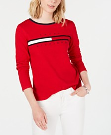 Tommy Hilfiger Cotton Long-Sleeve Logo T-Shirt, Created for Macy's