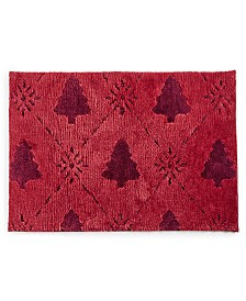 "Martha Stewart Collection Carved Christmas Tree 20"" x 30"" Rug, Created for Macy's"