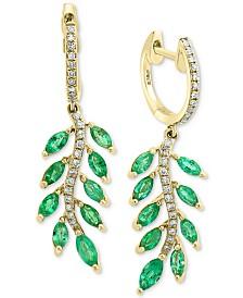 EFFY® Emerald (1-3/4 ct. t.w.) & Diamond (1/5 ct. t.w.) Leaf Drop Earrings in 14k Gold