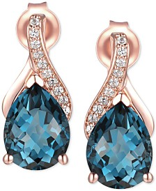 London Blue Topaz (2-1/2 ct .t.w.) & Diamond Accent Drop Earrings in 14k Rose Gold (Also Available in Garnet)