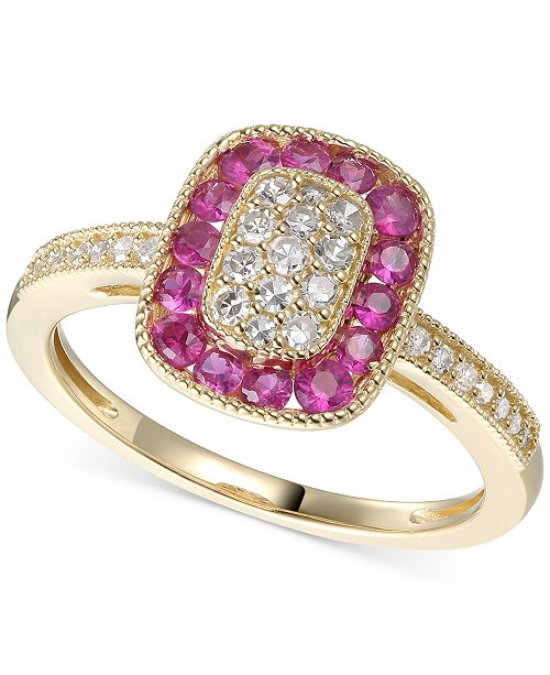 Macy's Certified Ruby (5/8 ct. t.w.) & Diamond (1/4 ct. t.w.) Statement Ring in 14k Gold(Also Available In Sapphire)