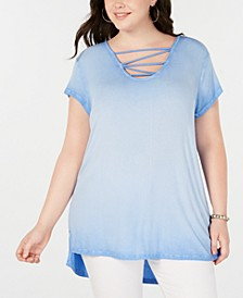 Trendy Plus Size Ombré High-Low Top