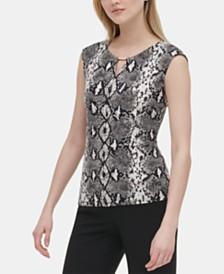 Calvin Klein Snake-Print Knit Top