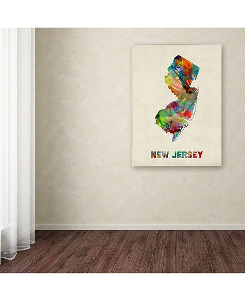 Trademark Global Michael Tompsett 'New Jersey Map' Canvas