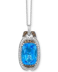 "Le Vian® Ocean Blue Topaz (7-1/2 ct. t.w.) & Diamond (1/3 ct. t.w.) 18"" Pendant Necklace in 14k White Gold"