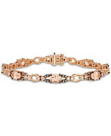Le Vian® Peach Morganite (4-1/3 ct. t.w.) & Diamond (1-5/8 ct. t.w.) Link Bracelet in 14k Rose Gold
