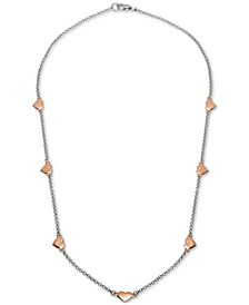 "Heart 18"" Chain Necklace in Sterling Silver & 18k Rose Gold-Plate, Created for Macy's"