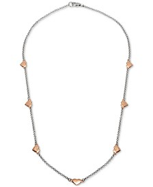 "Giani Bernini Heart 18"" Chain Necklace in Sterling Silver & 18k Rose Gold-Plate, Created for Macy's"
