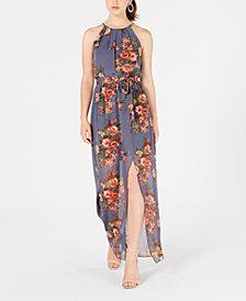 BCX Juniors' Floral-Print Slit Maxi Dress