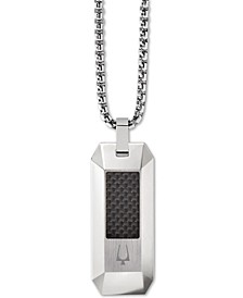 "Men's Carbon Fiber Dog Tag Pendant Necklace in Stainless Steel, 26"" + 2"" Extender"