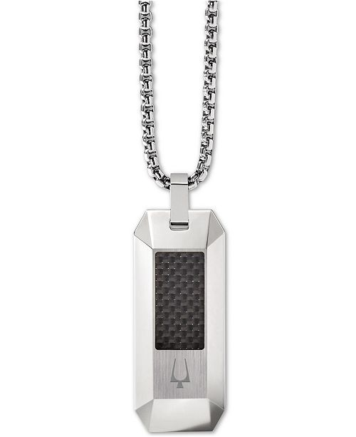 "Bulova Men's Carbon Fiber Dog Tag Pendant Necklace in Stainless Steel, 26"" + 2"" Extender"