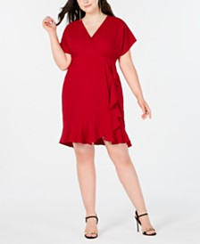 Love Squared Trendy Plus Size Faux-Wrap Ruffle Dress