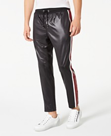 I.N.C. Men's Regular-Fit Joggers with Faux-Leather Piecing, Created for Macy's