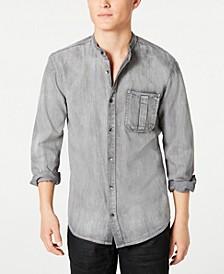 INC Men's Regular-Fit Band-Collar Denim Shirt, Created for Macy's
