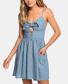 Roxy Juniors' Cotton Cutout Bow Dress
