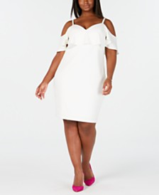 Emerald Sundae Trendy Plus Size Cold-Shoulder Bodycon Dress