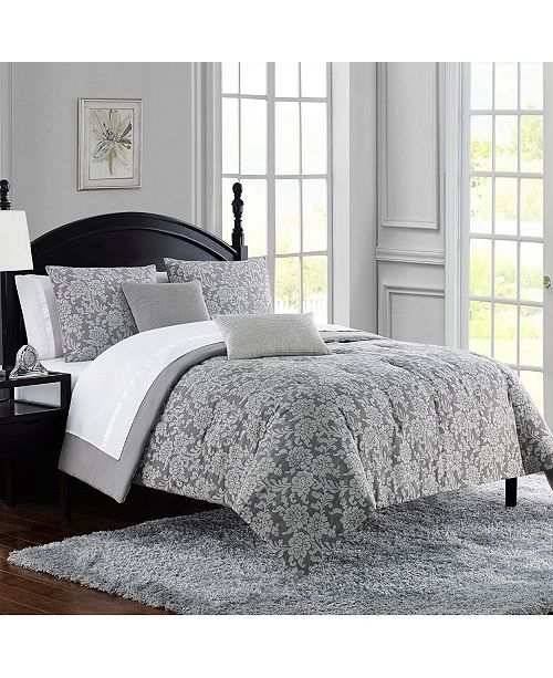 Waterford Angela Distressed Floral Cotton Jacquard 3Pc Queen Comforter Set