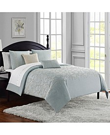 Gloria Cotton Chambray Embroidered 3Pc Queen Comforter Set