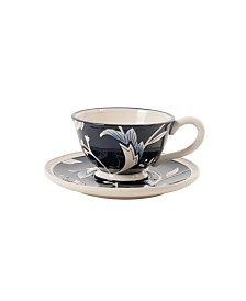 Fitz & Floyd  Bristol Indigo Floral Cup and Saucer