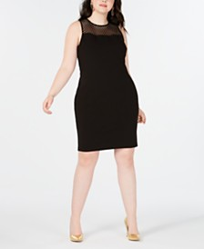 B Darlin Trendy Plus Size Mesh-Trim Sheath Dress, Created for Macy's