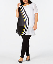Alfani Plus Size Wavy-Print Tunic, Created for Macy's